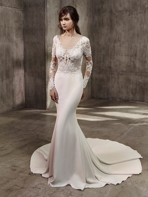 Fitted Lace Wedding Dress with Silk