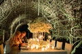 Tunnel of vines above luxury white reception table