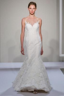 Dennis Basso 2016 sleeveless Alencon lace wedding dress with illusion neckline