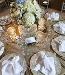 silver chargers reflective details centerpiece dominican republic wedding simple linen hydrangea