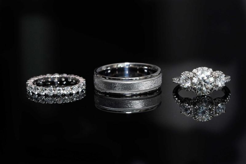 Halo Diamond Engagement Ring With Three Stones Eternity Band