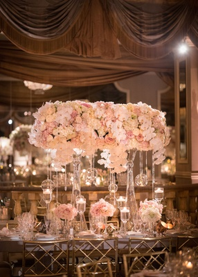 wedding reception rectangular table gold chairs high and low centerpiece designs pink rose orchid