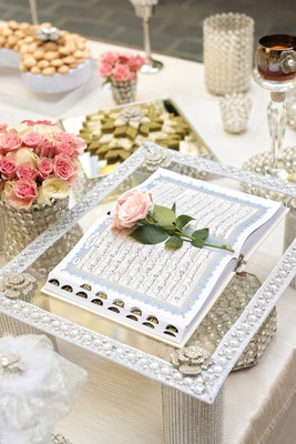 religious text Persian wedding ceremony flower votives crystal pink flower