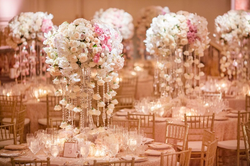 It was raining crystals and flowers for this wedding at The Beverly Wilshire Hotel.