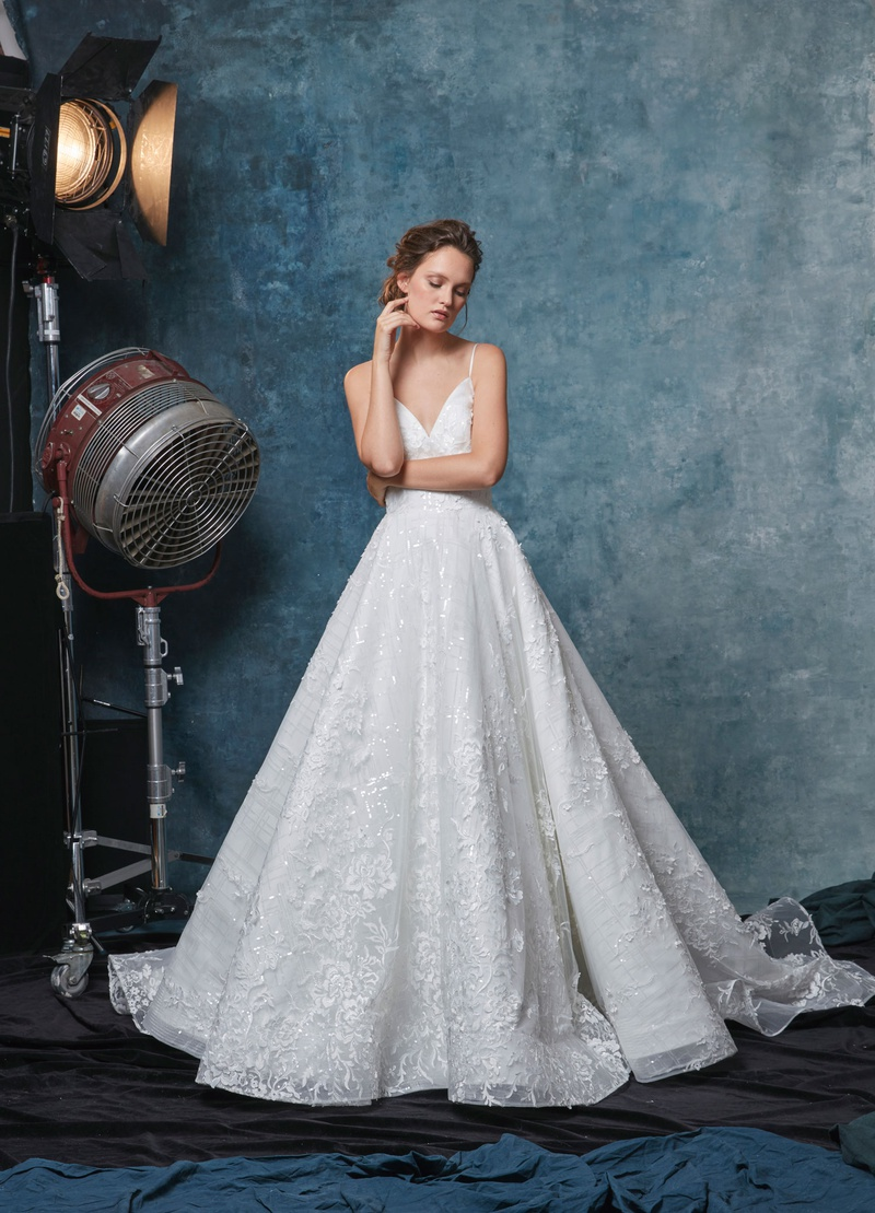 Sareh Nouri fall 2019 bridal collection wedding dress Margot spaghetti strap ball gown applique