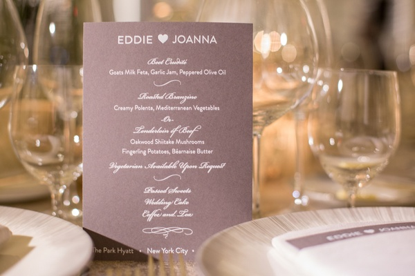 reception dinner menu subtle purple hues colors pink calligraphy new york city jewish wedding food