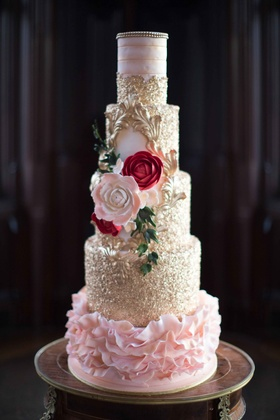 5 tier cake pink red florals flowers gold plating frosting wedding styled shoot new york dessert