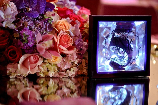 Crystal jewels and blue lighting in table number