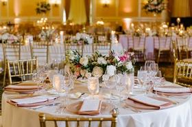 wedding reception ballroom classic decor gold chair low arrangement greenery white pink flowers