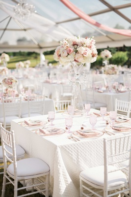 quilted linens, tented country club wedding, blush and white outdoor wedding