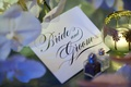 Bride and Groom in script calligraphy font on stationery