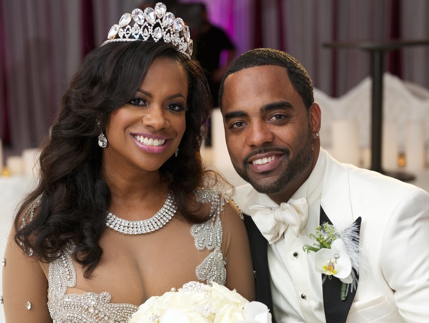 Kandi Burruss from The Real Housewives of Atlanta wore a sparkling necklace and tiara on her wedding