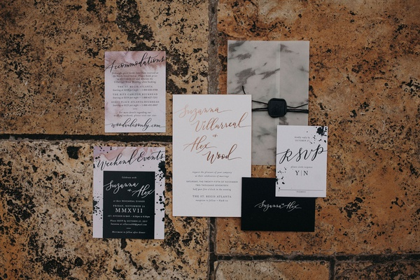 Marble and watercolor details on invitation suite brush lettering rose gold black envelope wax seal