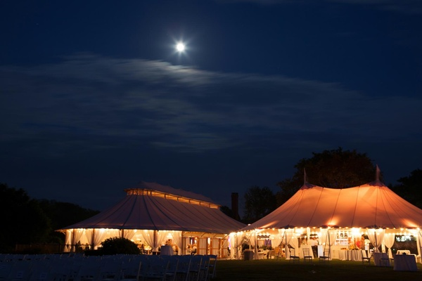 Wedding reception in tent in Newport, Rhode Island