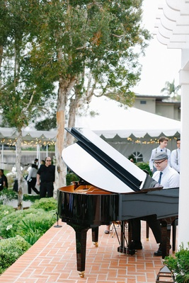 Piano wedding ceremony entertainment at outdoor wedding