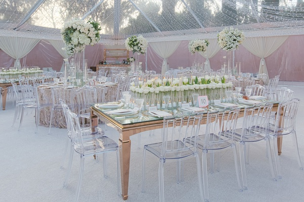 wedding reception in tent of cheryl burke matthew lawrence mindy weiss planning clear gold decor