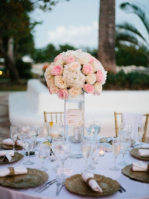 pink flowers in a vase centerpiece, outdoor reception