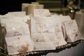Beignet wedding favors white bags with gold calligraphy beignet wishes from the new mr and mrs