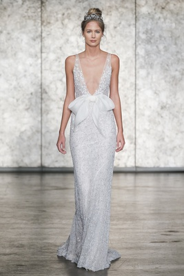 Inbal Dror Fall 2018 Fully sequined crochet lace V-neck sheath with organza pocketed waist bow