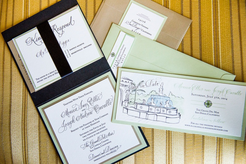 Light green wedding invitations and save the dates with calligraphy and watercolors