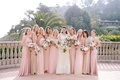 bride in vera wang, bridesmaids in ghost, bhldn, reformation, joanna august