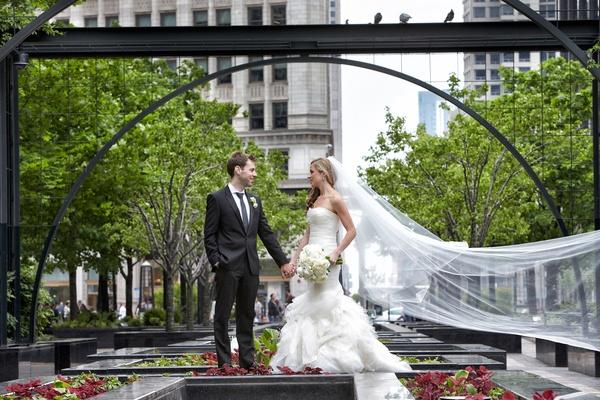 bride in vera wang gown, vera wang cathedral veil, groom in hugo boss