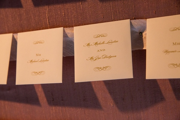 formal escort cards for wedding, ivory paper and gold print
