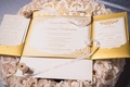 gold white fold out invites wedding calligraphy hotel del coronado patterns paper goods