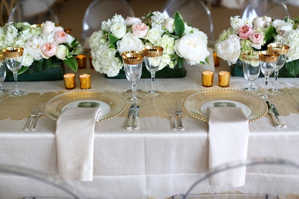 white and champagne linens, neutral reception décor