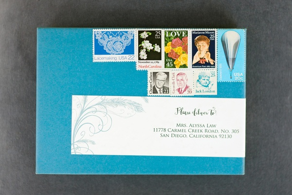 Bright blue envelope with stamps