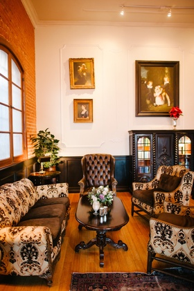 Reception lounge that looks like antique living room