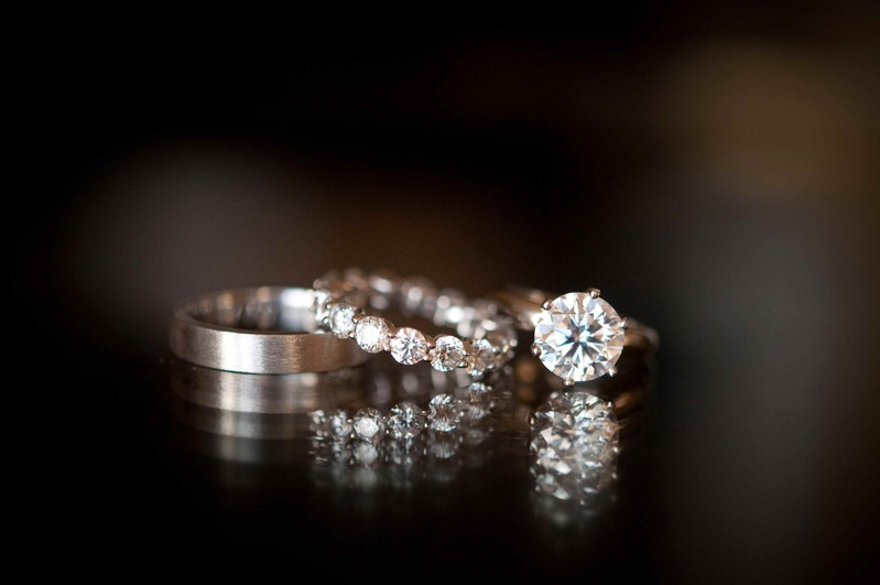 Men's polished wedding ring with diamond engagement ring and wedding band
