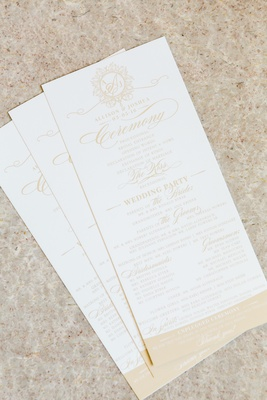White and nude wedding itinerary gold details ceremony program wedding party
