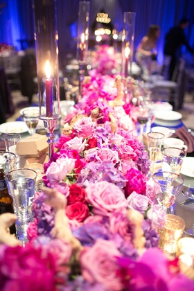 pink and purple floral table runner roses orchids glass candles vases table white china