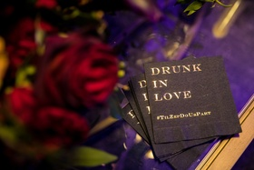 "Seattle Mariners Marc Rzepczynski's wedding, cocktail napkin with hashtag ""drunk in love"""
