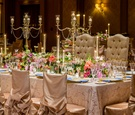 Rectangle table with tufted wedding throne chairs candelabra chair covers candlelight