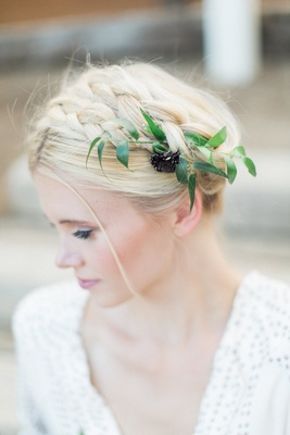 bridal braid flower foliage beauty southern california styled wedding shoot rustic simple hairstyle