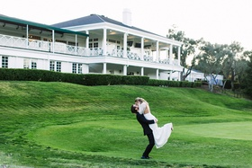 diablo country club wedding, bride and groom on golf course, groom lifts bride in the air