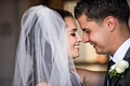 close up of newlyweds nose to nose