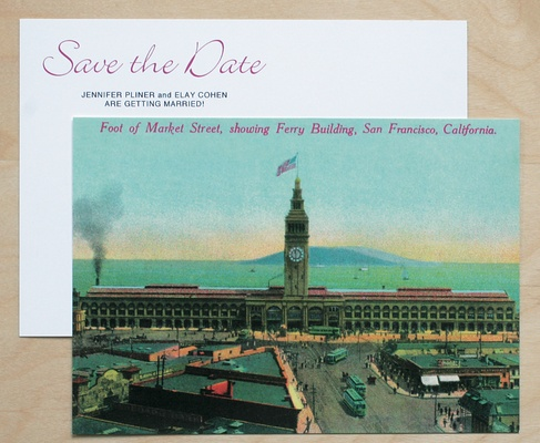 A vintage postcard of San Francisco's Ferry Building used for save-the-date