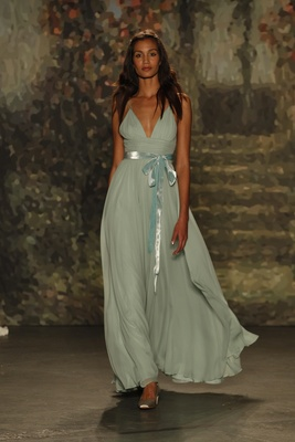 """Blue """"maria"""" dress with plunging neckline and blue belt by jenny packham"""