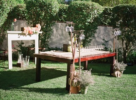 Outdoor wine bar with rakes and mantle