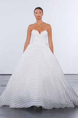 Dennis Basso for Kleinfeld 2018 collection wedding dress strapless sweetheart neckline ball stripe