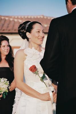 Junko Yoshioka gown and sparkling headpiece