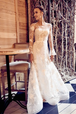 Isabelle Armstrong fall 2018 wedding dress Clara illusion long bell sleeve gown floral detail corset