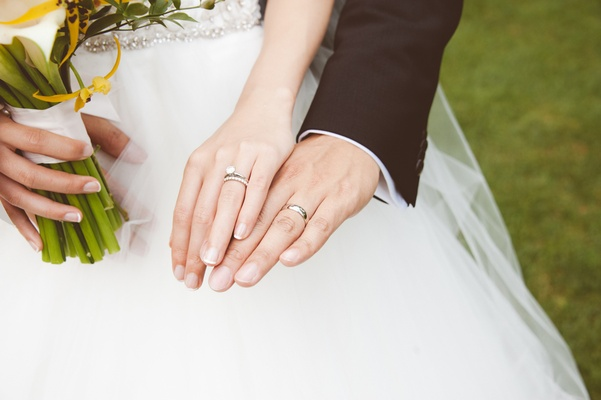 Platinum silver wedding bands and engagement ring