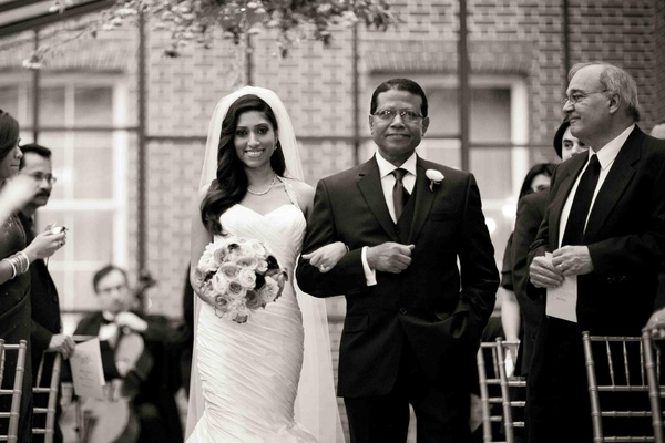 Black and white photo of bride with father of the bride