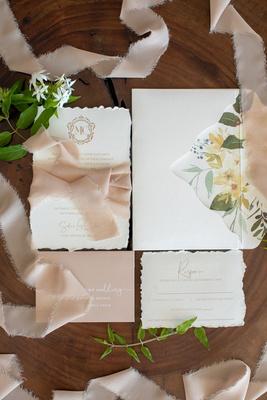 torn edge stationery flower print envelope liner ribbon blush monogram frayed edge