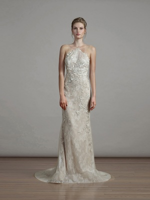 Liancarlo spring 2018 English garden embroidered tulle Chantilly halter fitted mermaid gown bridal