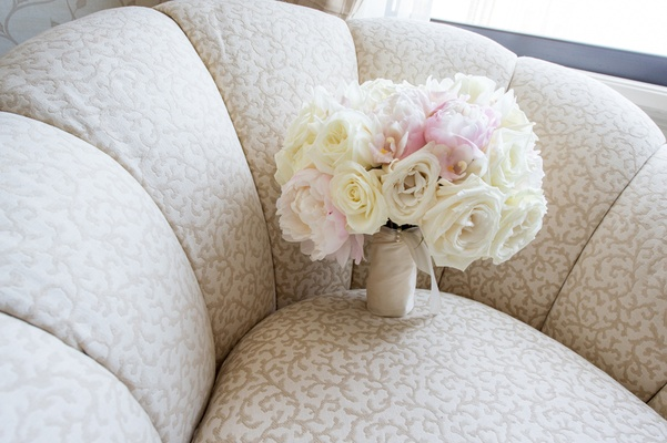 bridal bouquet with ivory roses and blush peonies